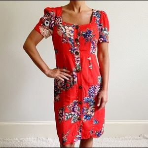 NWT Anthro MAEVE Floral Red Midi Dress 2 B216